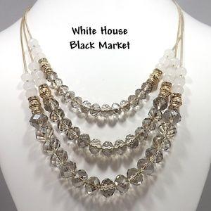 White House Black Market Crystal 3 Strand Necklace